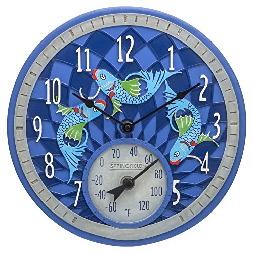 """Springfield 12"""" Koi Fish Poly Resin Clock with Thermometer"""