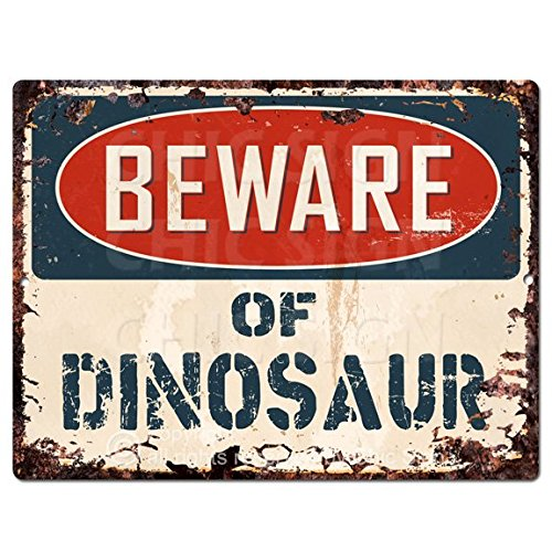 Beware of DINOSAUR Chic Sign Vintage Retro Rustic 9x 12 Metal Plate Store Home Room Wall Decor Gift