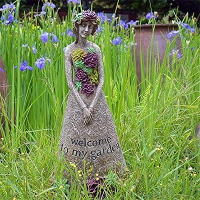 Lisansang - Señal de bienvenida para niña, decoración de jardín al aire libre, balcón, jardín, jardín, decoración grande para decoración de jardín, 1 color, 39X21X74cm: Amazon.es: Hogar