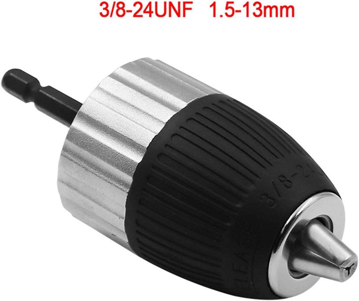 JIUY 1.5-13mm /électrique Marteau sans cl/é Mandrins sans cl/é Drill Chuck 3//8 /« 24UNF 1//4 /» hexagonal Adaptateur de mandrin de conversion argent et noir