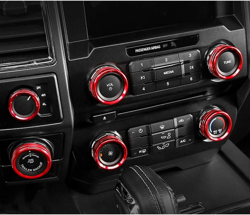 6pcs Car Air Conditioner /& Audio /& Trailer /& 4WD Switch Knob Ring Button Cover Trim for Ford F150 XLT 2016 2017 Aluminum Alloy Car Interior Accessories Red