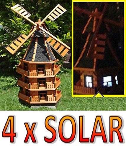 Gartenwindmühle, Windmühle ,Windmühle MIT SOLAR, windmühlen garten, WMB160at-MS mit Licht Solarbeleuchtung für Außen 1,60 m groß in schwarz
