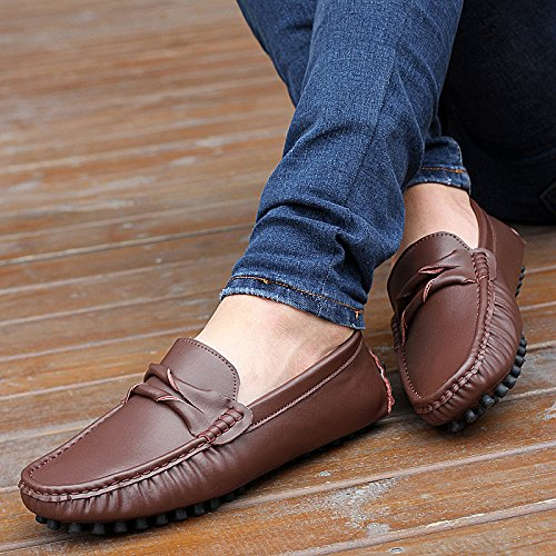 Abby Mens Qz-508 Fashion Comfort Cosy Cosiness Message Flat Leather Doug Schoenen Zwart Bruin