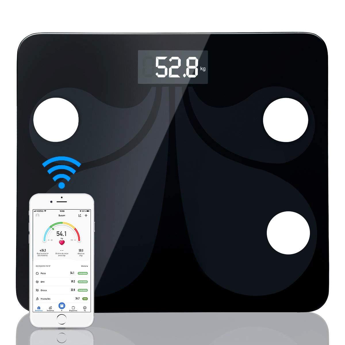 sumuya Báscula de Baño Digital Alta Medición Precisa180 kg/400 lbs, Balanza Digital Baño, Báscula Electrónica, Medidora Composición Bluetooth para Móviles ...