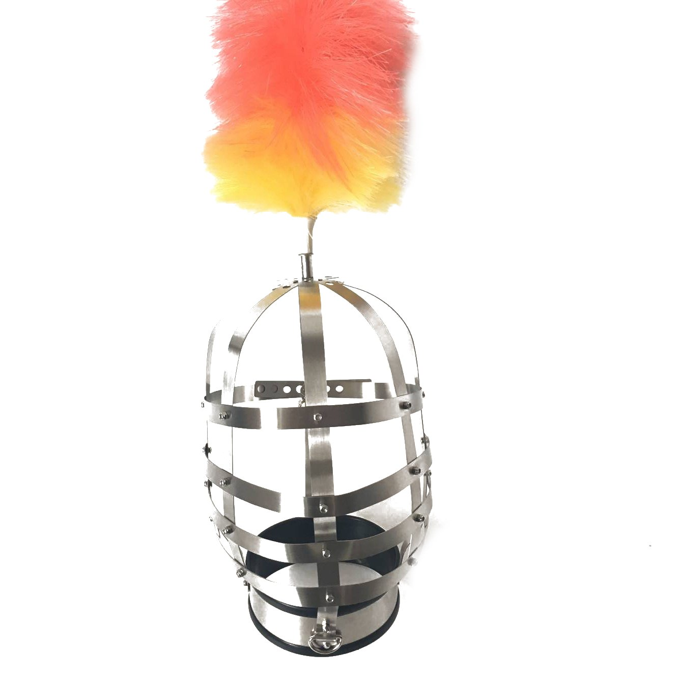 Duzzy Costume Gimp Mask Hood Couple Flirting Toys Style Style Stainless Neck Collar with Lock Head Cage Helmet with Feather Bondage Headgear Novelty