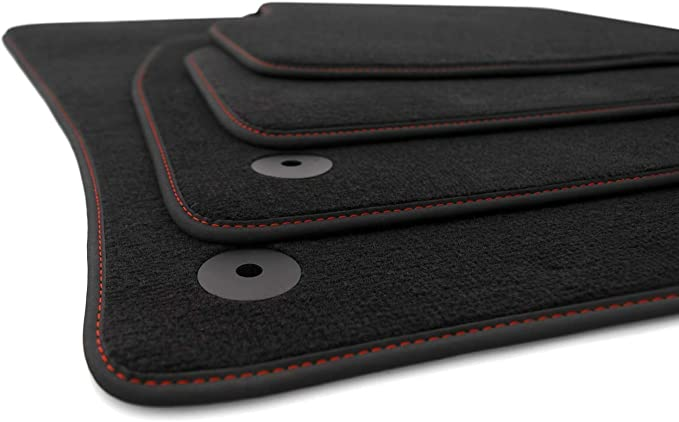 Kh Teile Fußmatten Passend Für Golf 7 Vii Premium Automatten 4 Teilig Velours Schwarz Nubuk Schwarz Ziernaht Rot Auto