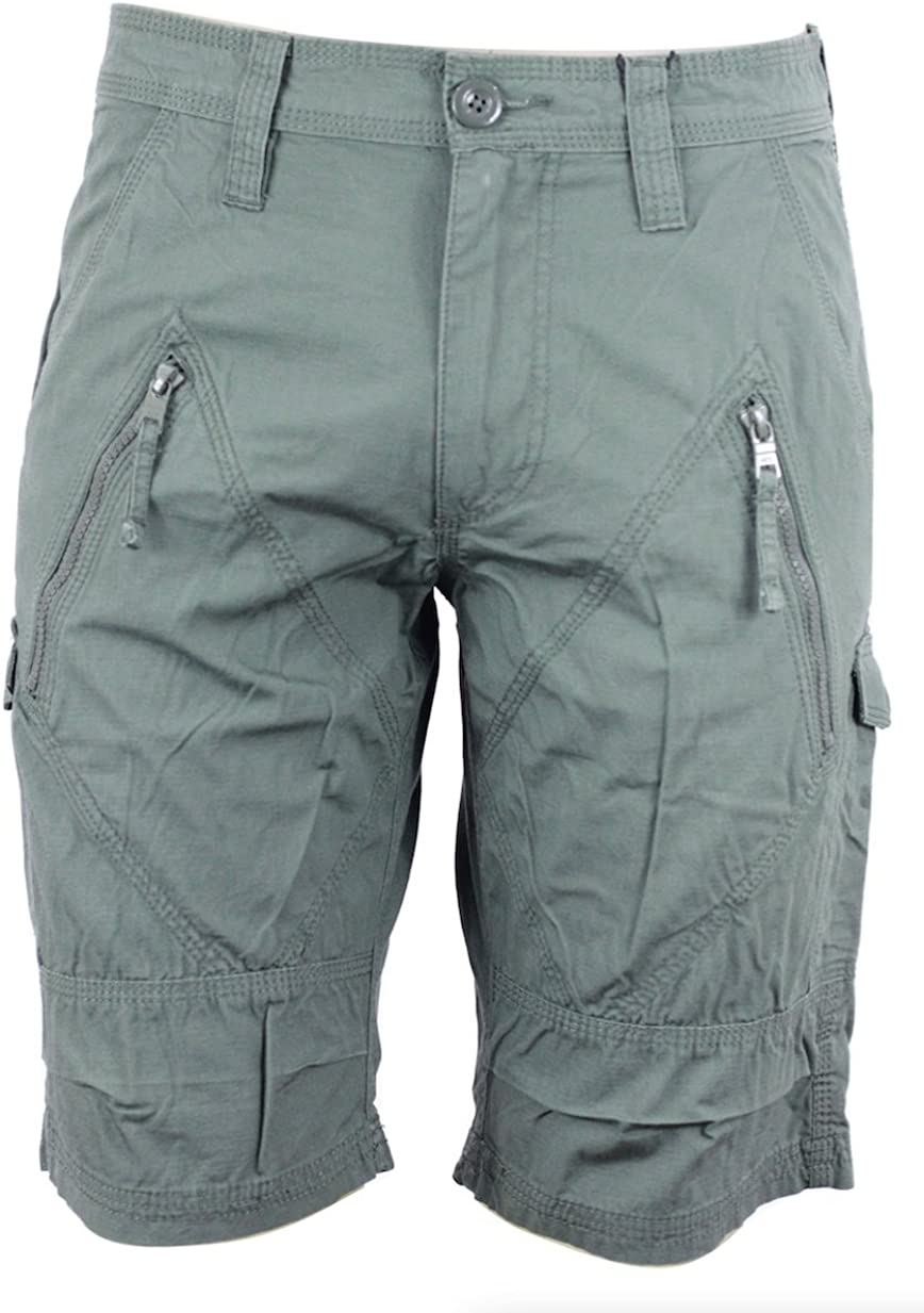 Armani Exchange AIX Utility Zip Short in Army Green, Size 38
