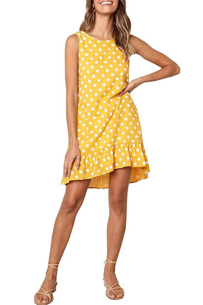 WOZNLOYE Mujer Sin Mangas Cuello Redondo Vestidos Sundress Moda Punto de Onda Impresión Vestido por la Rodilla Hoja de Loto Lado Dress de Playa Elegant Falda de Partido
