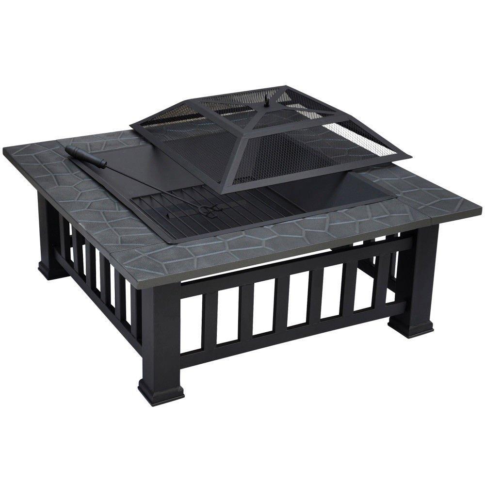 Square 32'' Outdoor Metallic Garden Fire Pit BBQ Grill Brazier Square Stove Patio Heat Resistant