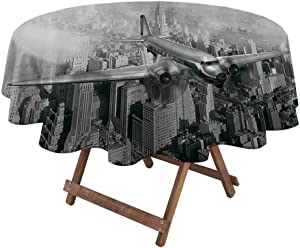 "Indoor Outdoor Tablecloth Vintage Decor Easter Tablecloth Nostalgic Dated Plane Flying Over Skyscrapers in New York City Urban Life Events 70"" Diameter Grey"