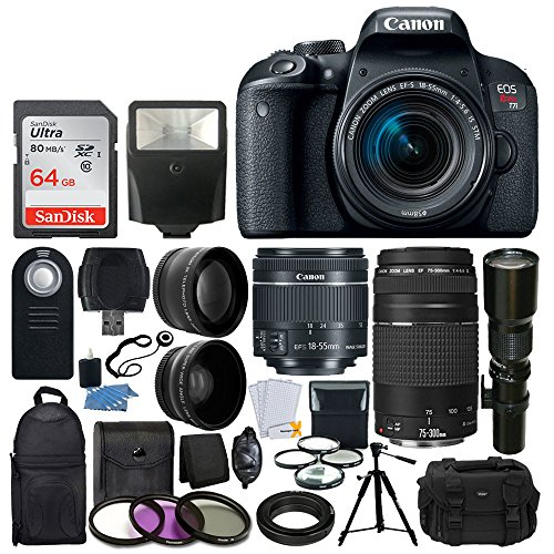 Canon EOS Rebel T7i DSLR Camera + Canon EF-S 18-55mm IS STM Lens + Canon EF 75-300mm III Lens + Wide Angle & Telephoto Lens + Telephoto 500mm f/8.0 (Long) + 64GB Card + Slave Flash + Valued Bundle by PHOTO4LESS
