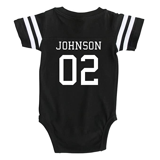 Custom football sport jersey baby bodysuit personalized with name and number newborn black
