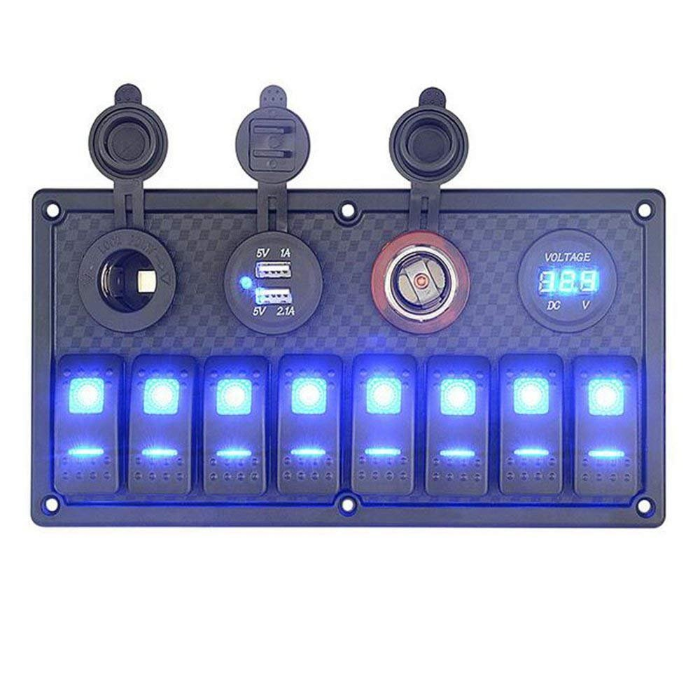 QXXZ Marine Switch Panel Switches With Dual USB Charger Cigarette Lighter Socket And Voltmeter Truck RV Boat Rocker Switch 12V 24V Blue LED 8 Gang by QXXZ