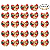 24PCS Christmas Bow Decoration, Red Xmas Bowknot with Bell DIY Christmas Tree Garland Rattan Gift Box Ornament By Rely2016 (Red & Green Plaid pattern)