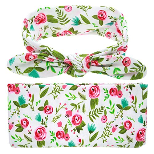 TiaoBug Newborn Baby Floral Cotton Swaddle Blanket Sleepsack with Bow Headband Rose, Green One Size