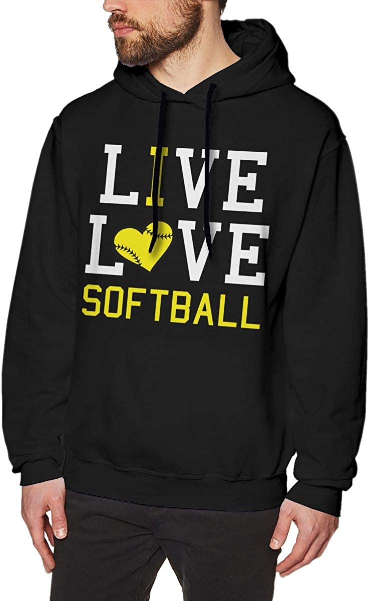 Mens Hoodies Live Love Softball Cool Pullover Hooded Print Sweatshirt Jackets