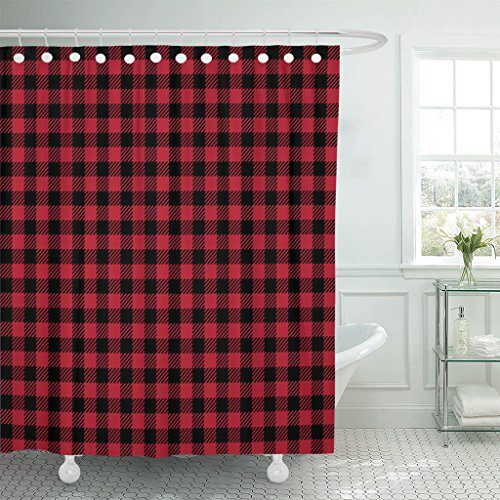 Emvency Shower Curtain Curtains Black Scottish Ruby Lumberjack Buffalo Plaid Red Abstract Checkered Crimson Diagonal 72