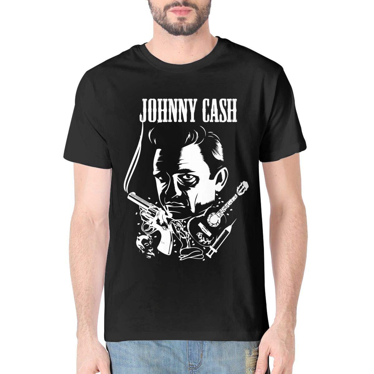 Nagolia Mens Cotton Short Sleeve T Shirt Johnny Cash Adult Crew Neck Tees Top