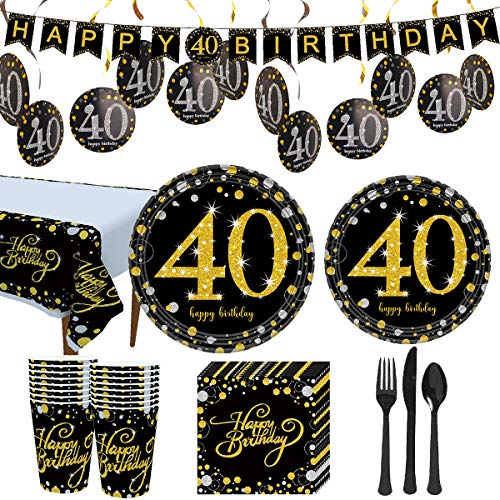 Trgowaul 40th Birthday Party Supplies - Gold Disposable Paper Plates, Napkins, Cups, Tablecover Forks, Knives and Spoons for 16 Guests and Party Supplies Decorations Banner
