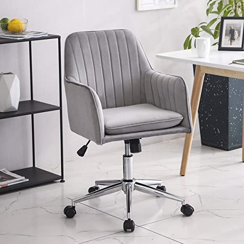 Leyo Ergonomic Home Office Chair Lumbar Support Home Desk Chairs Wheels Computer Chair Chic Velvet Accent Chair