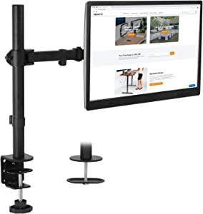 Mount-It! Single Monitor Desk Mount with Clamp Base | Full Motion Computer Display Mounting Arm, VESA 75 100 Fits Monitors 24, 27, 30 and 32 Inches
