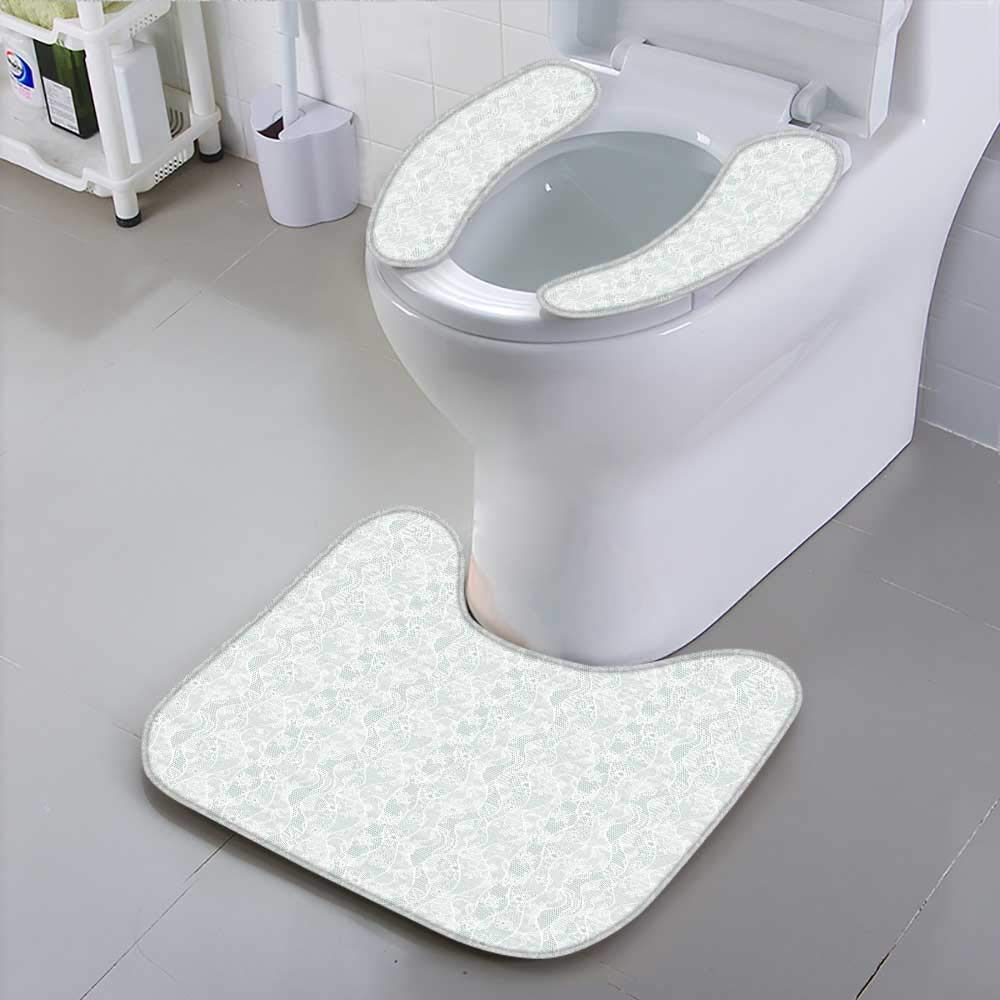 HuaWu-home Universal Toilet SeatLace Seamless with Flowers on Blue Safety and Hygiene
