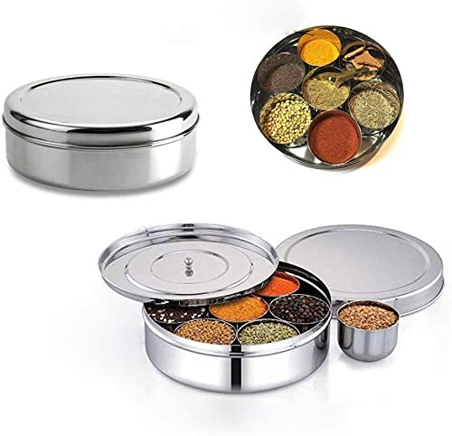Stainless Steel Masala Canister with Inner Cover Spice Organizer with 7 Container Wati and 1 Spoon,Valentine Day Gifts