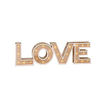 Luz Bombilla Texto Cálido Love IluminaciónMadera Madera Home Led Decoración O Blanco dorxCWeB