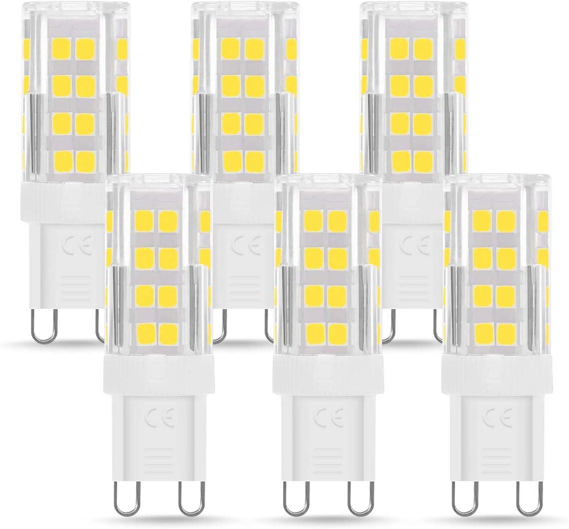 Bombilla LED G9 de 5W Equivalente a 40W Lampara Halógena, Blanco Frío (6000k), 400LM, No regulable, Sin parpadeo, Sin Estroboscópico, 360 Grados, lámpara g9 para iluminación del hogar, paquete de 6