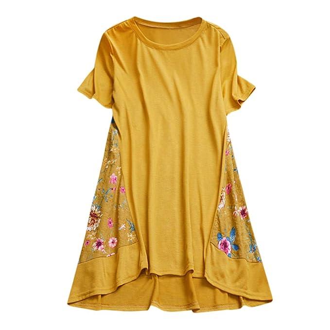 FRAUIT Camisa de Verano de Las Mujeres Hawai Camisas Y Blusas de Mujer Mujer de Camiseta Camiseta de Manga Corta Top Estampado Floral Blusa Casual Camiseta ...