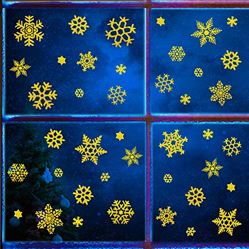 Uimiqc Glitter Snowflake Window Clings 114 pcs Reusable Sparkly Static Window Clings for Christmas Holiday Winter Window Decorations Multi-Size (Gold, 114 pcs)