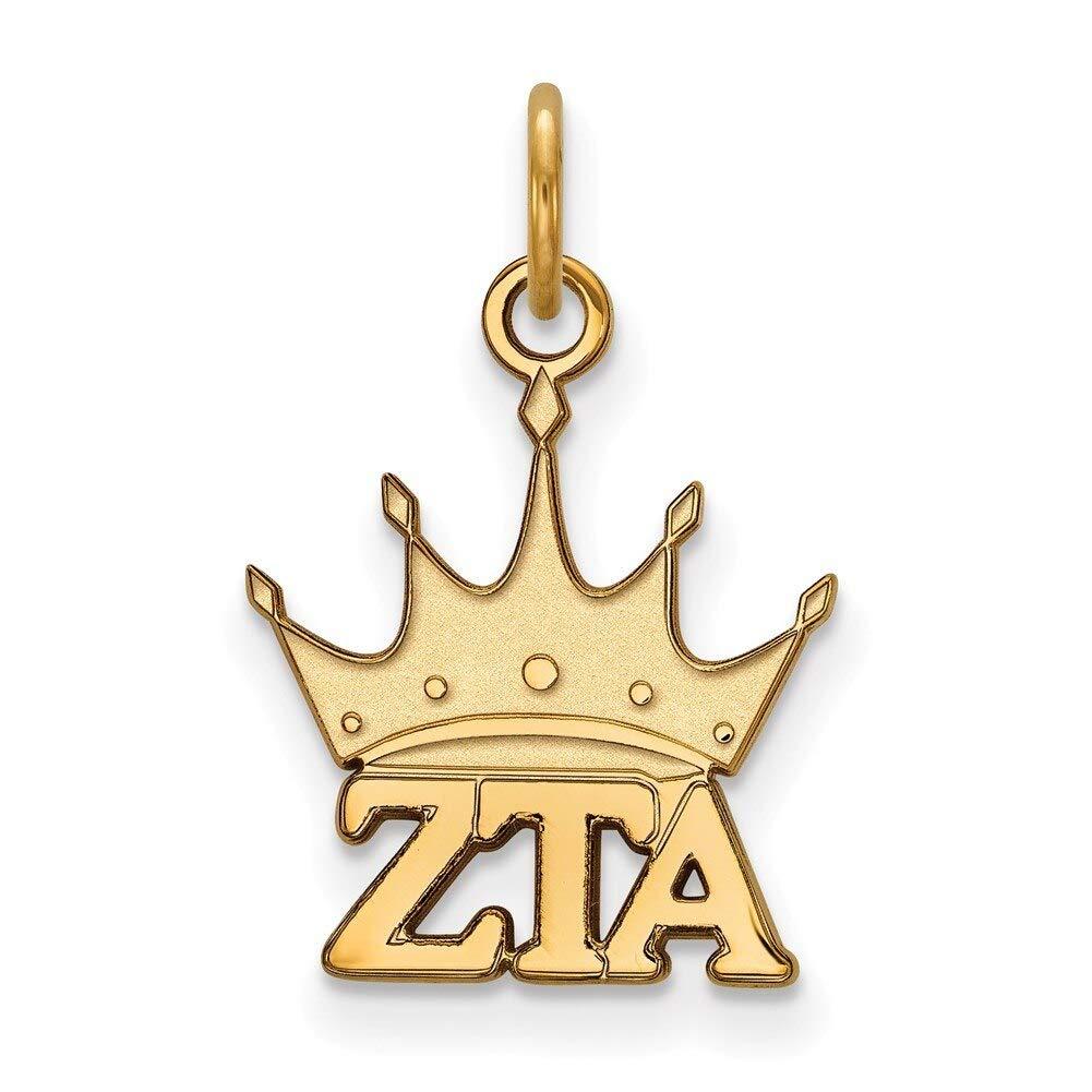 Lex /& Lu LogoArt Gold Plated Sterling Silver Zeta Tau Alpha XS Pendant LAL158650