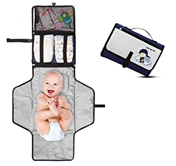 Crystal Baby Smile Portable Changing Pad Detachable and Wipeable Mat Lightweight Travel Station Kit for Baby Diapering Dark Gray Mesh and Zippered Pockets Diaper Clutch Entirely Padded