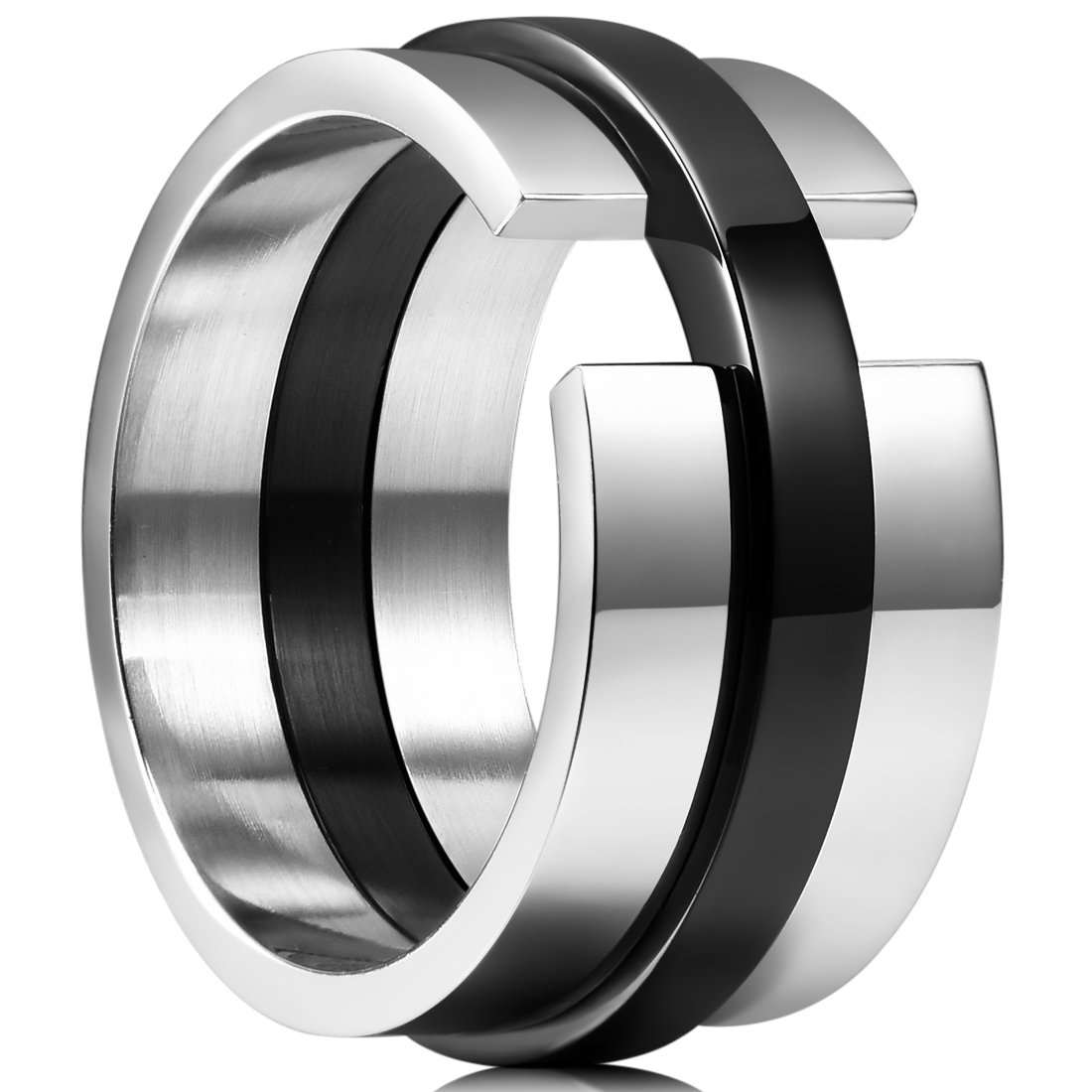 King Will TIME 11mm Black and White Mens Stainless Steel Wedding Band Ring High polished 8.5