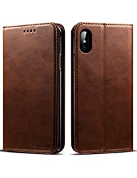 iPhone X, 5.8 inches, PU Leather Wallet Phone Case Iphone Case with Card Holder Kickstand Protective Flip Cover