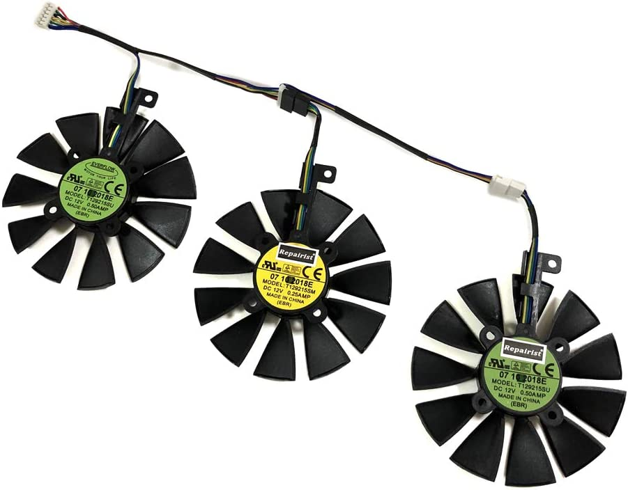 85mm Diameter 28mmX28mm Pitch T129215SM Single B Fan Graphics Card Fans for ASUS GTX1080TI//980Ti//1070//1080//1070Ti R9 FURY//390X//390 RX480//580 GPU Cards Cooling