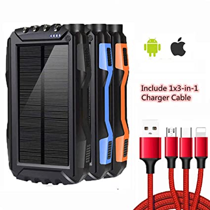 Solar Charger 25000mAh,Waterproof Solar Power Bank,Dual USB Backup Battery Pack Charger with LED Flashlights and Charging Cable
