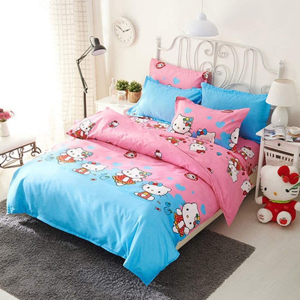 Bedding 4 Pieces of Bedding-The Softest Sheets and Pillowcases 100% Cotton Teenager Girl Bedroom Bed Q-20-5-18 (Color : Hello Kitty, Size : Queen)