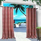 COFTY Indoor/ Outdoor Curtains and Drapes Eco-friendly For Patio| Porch| Gazebo| Pergola | Cabana | dock| beach home - Nickle Grommet - Red White - 84Wx84L Inch (1 Panel)