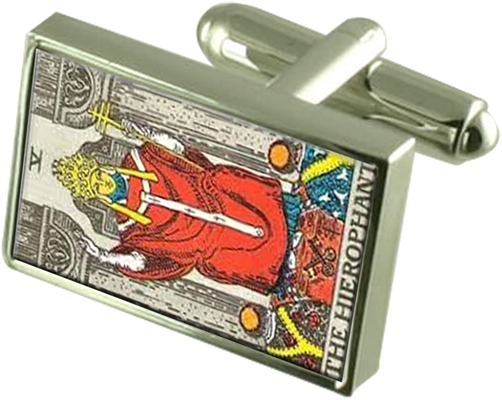 Select Gifts Tarot Hieophant Card Cufflinks with Pouch