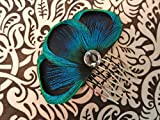 Oh Lucy Handmade BALEY Blue Peacock Feather Hair Comb