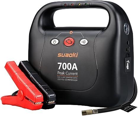 Arrancador de emergencia para coche Suaoki de 700 amperios de corriente máxima con compresor de aire de 1034 kilopascales para motores con 6 litros de gasolina y 5 litros de diésel: Amazon.es: