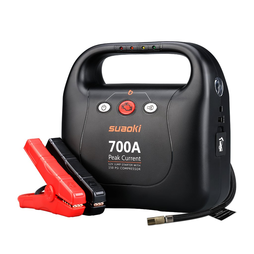 SUAOKI Jump Starter 700 Peak Amps with 150 PSI Air Compressor Power Pack (Up to 6.0L Gas and 5.0L Diesel Engines)