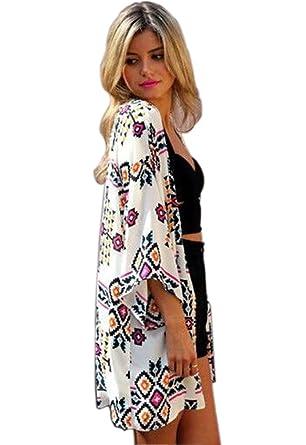 Camisunny Women Chiffon Printed Cardigan Kimono Robe Tops Beach ...