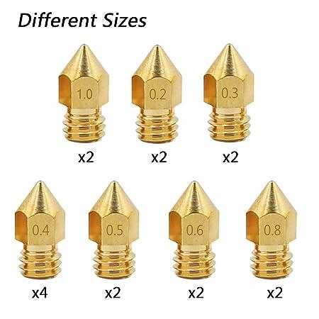 16 boquillas de latón para impresora 3D MK8 con 4 boquillas de bricolaje, SourceTon 7 tamaños diferentes MK8 boquillas y destornillador, llave, funda ...