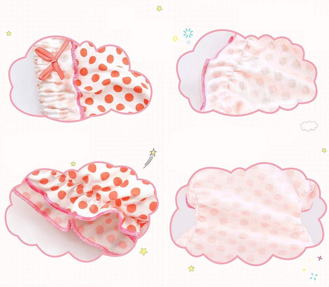 Repuhand 4Pcs Weich Baumwolle Soft Unterhosen Baby M/ädchen Baumwolle Unterhosen Gestreift Punkt Muster mit Trendy R/üschen Unterhosen