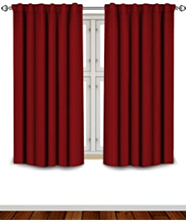 blackout room darkening curtains window panel drapes burgundy color 2 panel set 52 inch