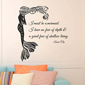 BATTOO Wall Decal Quote I Must Be A Mermaid  Mermaid Wall Decal Quote  Anais