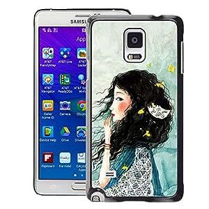 Planetar® ( Lady Woman Deep Sad Blue ) Samsung Galaxy Note 4 IV / SM-N910 Fundas Cover Cubre Hard Case Cover