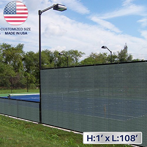 Windscreen4less 1' x 108' Solid Green Fence Privacy Screen Coated Polyester Mesh 80% Privacy (280GSM) -3 Year Limited Warranty 1' X 108' Roll